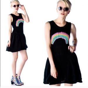 Wildfox white label rainbow black dress